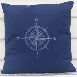 Fabric Cushion – Compass Design – Blue