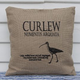 Hessian Ornithological Cushion – Curlew