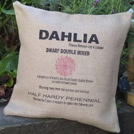 Hessian Botanical Cushion – Dahlia