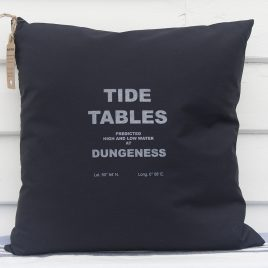 Fabric Cushion – Dungeness Tide Table Design – Navy