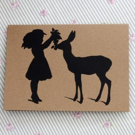 Greetings Card – Girl & Reindeer