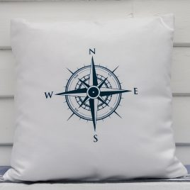 Fabric Cushion – Compass Design – White