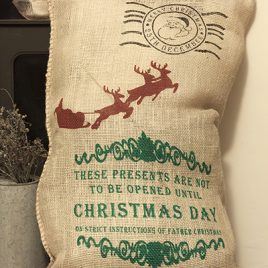 Hessian Christmas Sack – Santa Design