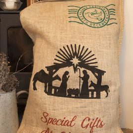 Hessian Christmas Sack – Nativity Design