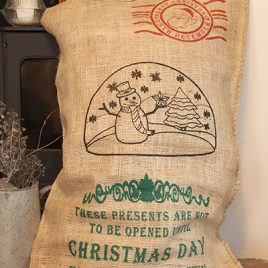 Hessian Christmas Sack – Snowman Design