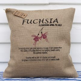 Hessian Botanical Cushion – Fuchsia