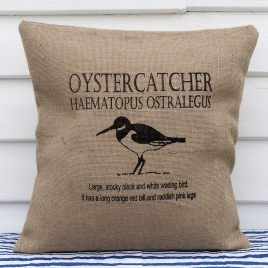 Hessian Ornithological Cushion – Oystercatcher